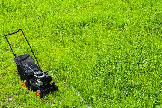 Modern gasoline powered grass mower stands on grass