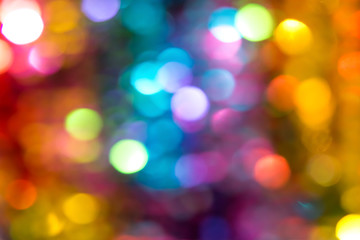 Beautiful multicolored bokeh lights holiday glitter background for Christmas New Year Birthday celebration. High resolution image. Template for backdrop product surface design