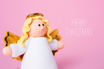 angel and text merry christmas