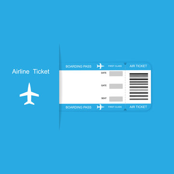 Modern airline travel boarding pass ticket on blue background.