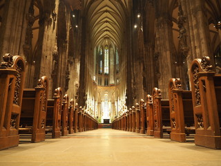 Cologne, Germany - December 09, 2017: Interior of Cologne Cathedral.