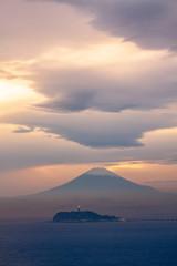逗子市小坪から黄昏富士山