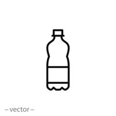 Fototapeta plastic bottle icon, line sign on white background - editable vector illustration eps10