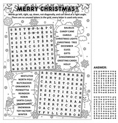 Christmas themed zigzag word search puzzle and coloring page. Answer included.