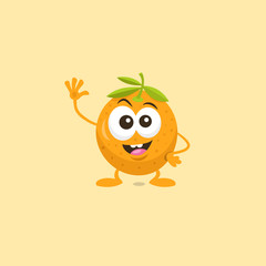 Illustration of cute happy orange mascot greeting someone with big smile isolated on light background. Flat design style for your mascot branding.