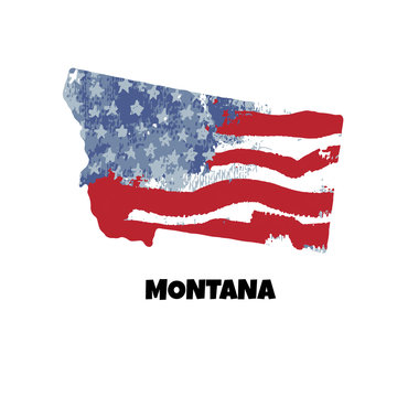 State of Montana. United States Of America. Vector illustration. Watercolor texture of USA flag.