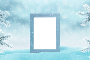 Picture frame mockup for family photo for New Year and Christmas greeting card.