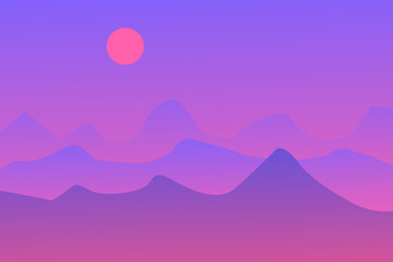 Purple abstract landscape with sun and mountains. Vector illustration