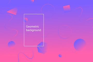 Purple geometric wallpaper. Gradient shapes composition.