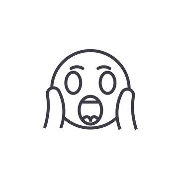 Face Screaming Emoji concept line editable vector concept icon. Face Screaming Emoji concept linear emotion illustration
