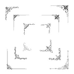 Calligraphic corner frame divider element classic style ornament border decoration design with hand writing calligraphy