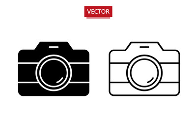 Photo vector icon. Set of 2 different design icons - outline and filled. Vector illustration isolated on white background. Simple pictogram for graphic and web design.