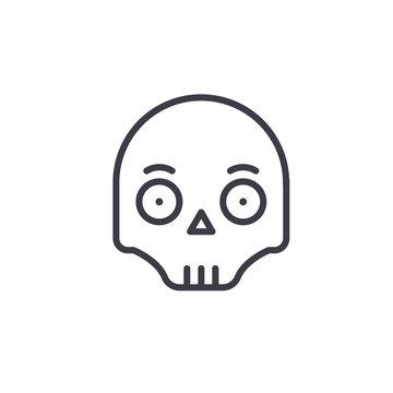 Scull Emoji concept line editable vector concept icon. Scull Emoji concept linear emotion illustration