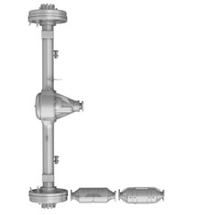 Uppercase letter L from car parts. The letter of the alphabet -L- composed of a rear drive axle car and elements of the vehicle engine exhaust system. Isolated. 3D Illustration