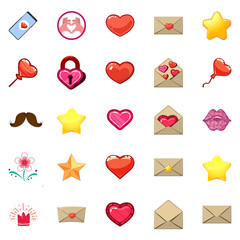 Cute icons of heart and love message, in a game mixed style