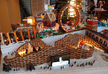 A structure built by a robot from architects Foster and Partners is seen the Museum of Architecture's Gingerbread City at the V&A Museum, in London