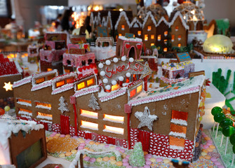 A gingerbread structure is seen at Museum of Architecture's Gingerbread City at the V&A Museum, in London