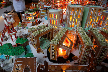 Gingerbread structures are seen on display at the Museum of Architecture's Gingerbread City at the V&A Museum, in London