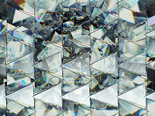 Triangles with diamond structure extreme closeup and kaleidoscope