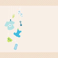 Card Baby Symbols Shirt Boy Dots Border