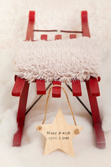Red sledge with fur and Make a wish upon a star sign