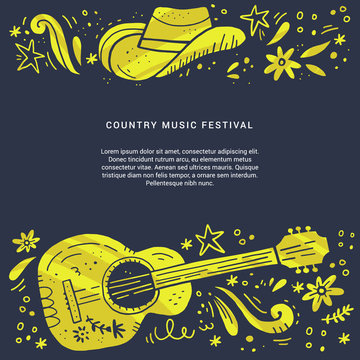 Country music festival retro poster vector template.