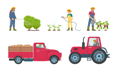 Tractor and Lorry with Load Vector Illustration