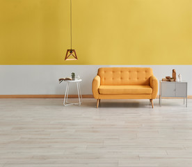 Yellow white wall concept, yellow sofa, wooden lamp and grey cabinet.