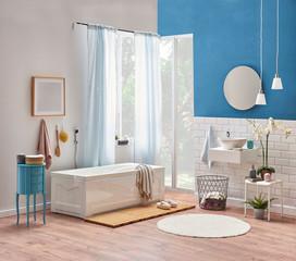Bath room corner style, white tub, white sink and mirror decoration. Bath room decoration interior.