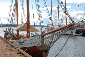 Maritimr suggestions, wooden old boast in harbour