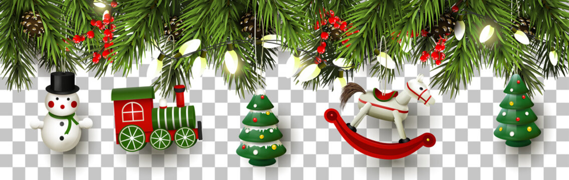Christmas border with branches and wooden toys