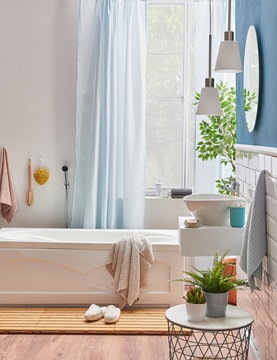 White tub detail interior bath room.