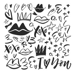 Collection of romantic elements. Hand drawn vector love clip art.