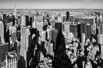 New York City aerial view of the skyscrapers of Murray-Hill Midtown Manhattan in Black & White