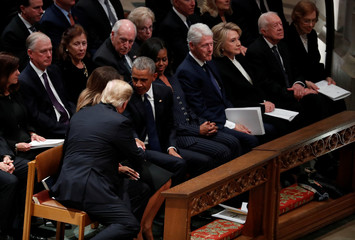President Trump shakes hands with former President Obama at state funeral for former U.S. President George H.W. Bush at Washington National Cathedral