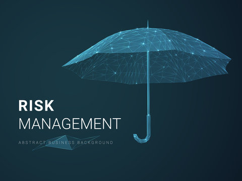 Abstract modern business background vector depicting risk management with stars and lines in shape of an umbrella on blue background.
