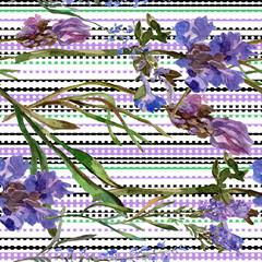 Purple lavender. Floral botanical flower. Watercolo seamless background pattern. Fabric wallpaper print texture.