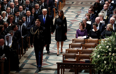 President Trump arrives with the first lady at state funeral for former U.S. President George H.W. Bush at Washington National Cathedral