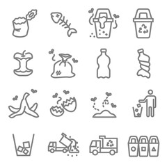 Garbage Vector Line Icon Set. Contains such Icons as Banana Peel, Fishbone, Eggshell, Trash and more. Expanded Stroke