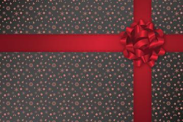 Geschenkband rot - Weihnachtsmuster