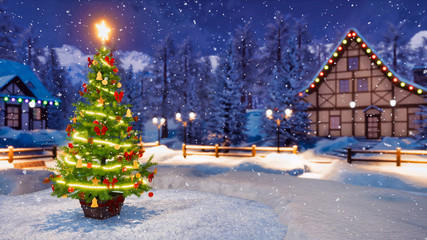 Wall Mural - Outdoor Christmas tree decorated by luminous star and lights garland with defocused alpine mountain village on background at snowfall winter night. Festive 3D illustration.