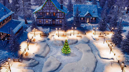 Top down view of snow covered european village high in mountains with half-timbered houses and decorated Christmas tree on square at snowfall winter night. 3D illustration.