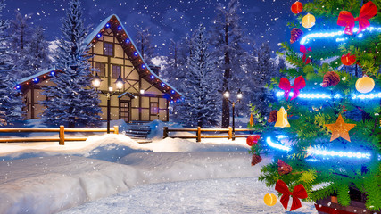 Wall Mural - Close up of outdoor Christmas tree decorated by lights garland and shiny baubles and snow covered rural house on background at snowy winter night. Festive 3D illustration.