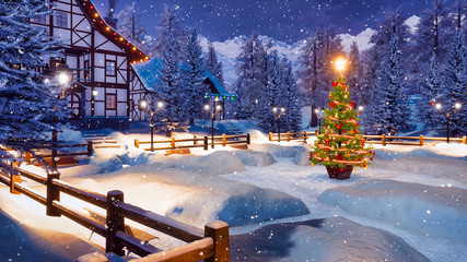 Wall Mural - Magical Christmas night in cozy alpine town high in snowy mountains with half-timbered house and illuminated Xmas tree on snowbound square at snowfall. 3D illustration.