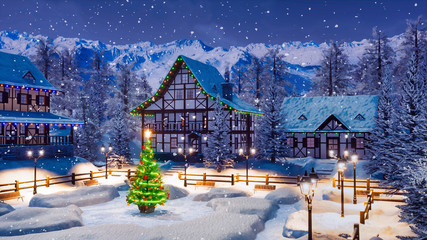 Wall Mural - Outdoors Xmas tree decorated with christmas lights on empty snowbound square of cozy alpine mountain township at snowy winter night. With no people festive 3D illustration.