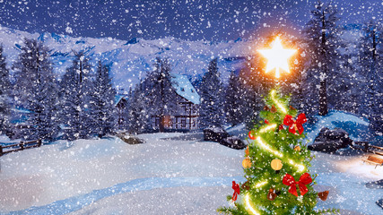 Top of outdoor Christmas tree decorated by luminous star and garland lights with blurred snow covered rural landscape on background at snowfall winter night. 3D illustration.