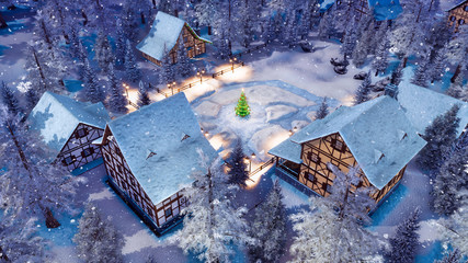 Overhead view of snowbound european township high in snowy alpine mountains with half-timbered houses and decorated Christmas tree at snowfall winter night. 3D illustration.