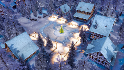 Wall Mural - Top down view of snow covered european village high in alpine mountains with half-timbered houses and decorated Christmas tree at snowfall winter night. 3D illustration.