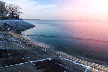 Winter at the shores of Lake Morii on Bucharest, Romania
