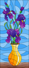 Illustration in stained glass style with floral still life,  bouquet of purple irises in a orange  vase on a blue background